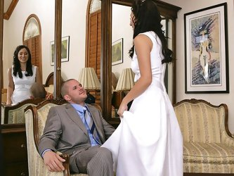 Horny brunette bride gets naile by a guest