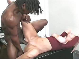 Hot blonde interracial banging