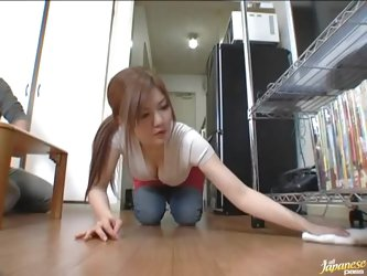 Pretty Japanese chick and her BF watch porn and begin to fondle each other. The girl astonishes the man with her cock-sucking talent and then rides...