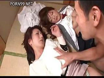 Two helpless Asian hoochies get bound and teased by their master
