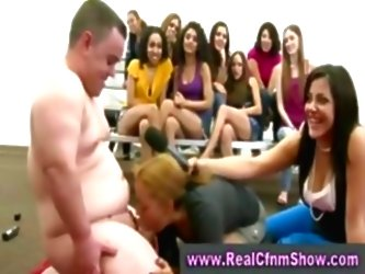 Fat Guy Gets Sucked By Cfnm Babe...