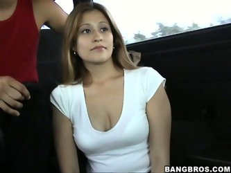 Pale skin hottie with ugly saggy tits feels itchy in her sweet twat. When  bitch saw a bangbus rolling on the streets she couldn't resist to send
