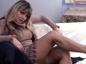 Although she's not young anymore, Raika can still make our cocks hard with her hot thighs and slutty manner. The expression on her face says that