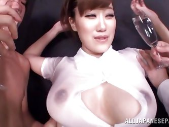Her huge boobs deserve to be in the middle of our attention and these two guys are just making things a bit more interesting by groping and squeezing