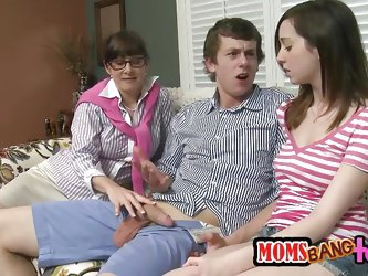 Jeremy Austin was in her Victoria Volt's house, getting his cock sucked on the couch in her living room. Volt's busty mom, Alexandera Silk f