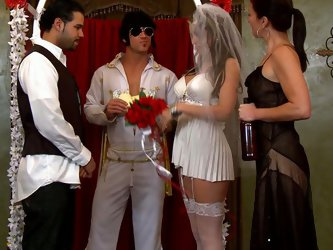 White slutty bride got really horny during her wedding ceremony so she started to rub her boyfriends dick to turn him on. He got horny real quick and