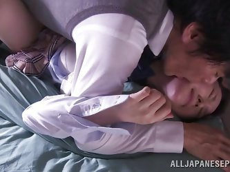 Don't you love sex videos with Asian teens? Rin got in a passionate lover's bed. She cannot escape his embrace and gets fucked wildly, with