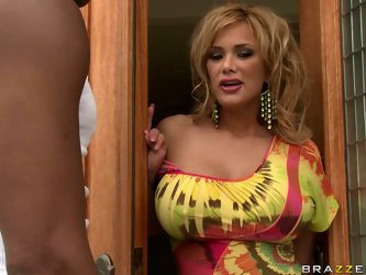 Black young gangsta outside looks attractive for busty blonde Shyla Stylez! She invites him to her crib and blows his big fat cock!