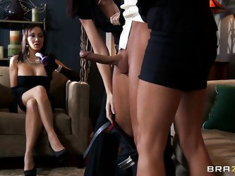 Two hot girls are cocknapping a guy and they bring him to their boss, a horny woman with huge breasts playing with a dildo. The two so called henchmen