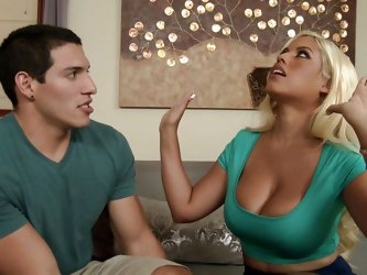 He can't stop staring at her tits, and Bridgette notices him look at her boobs. She kisses him and then she lets him lick her nipples and stick h