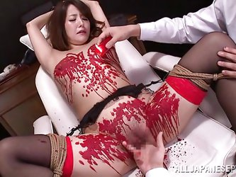 Have you ever seen a Japanese slut, that loves as much pain, as this? She is tied down by her masters and fingered, before they pour hot wax all over