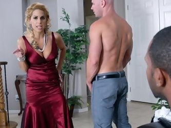 A blonde with big tits is getting her pussy licking by her man