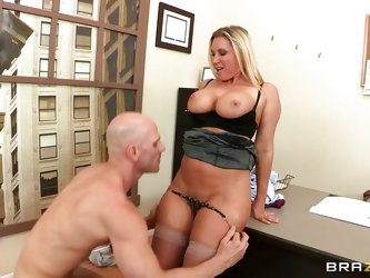 Devon Lee is a hot blonde babe with big bouncy tits that loves a big hard cock between her juicy lips. And Johnny Sins is one lucky fucker to get the