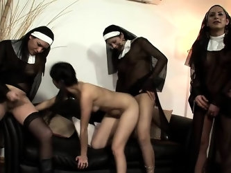 Pigtailed babe has three wild shemales taking turns fucking her peach