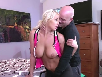 Derrick Pierce is squeezing and fondling London River's big boobs from behind. Wet and ready chick is being pushed on that bad for some hard puss