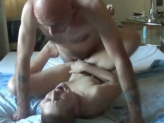 Bald headed stud drills hard young brunette with short hair