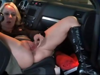 Blonde wife gets horny in the parking lot