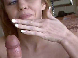 Sexy sweetie is getting cum on face