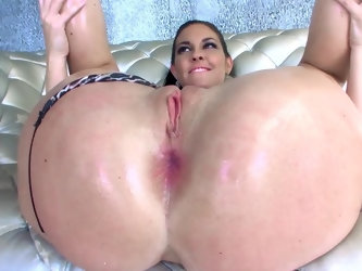Skillful stud toys and licks holes of ravishing whore before shoving massive tool inside her tight asshole. She screams with pleasure but wants partne