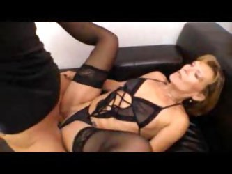 Stunning black lingerie on mature that fucks